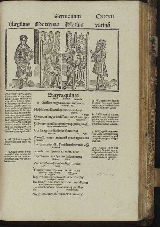 Horatius, Opera, with various commentaries. Ed: Jacobus Locher. Strassburg: Johann (Reinhard) Grüninger, 12 Mar. 1498. f°.